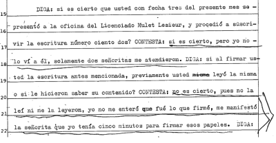 Detalle de la declaración de Delia D. Asegura que no le dieron tiempo para leer lo que firmaba.
