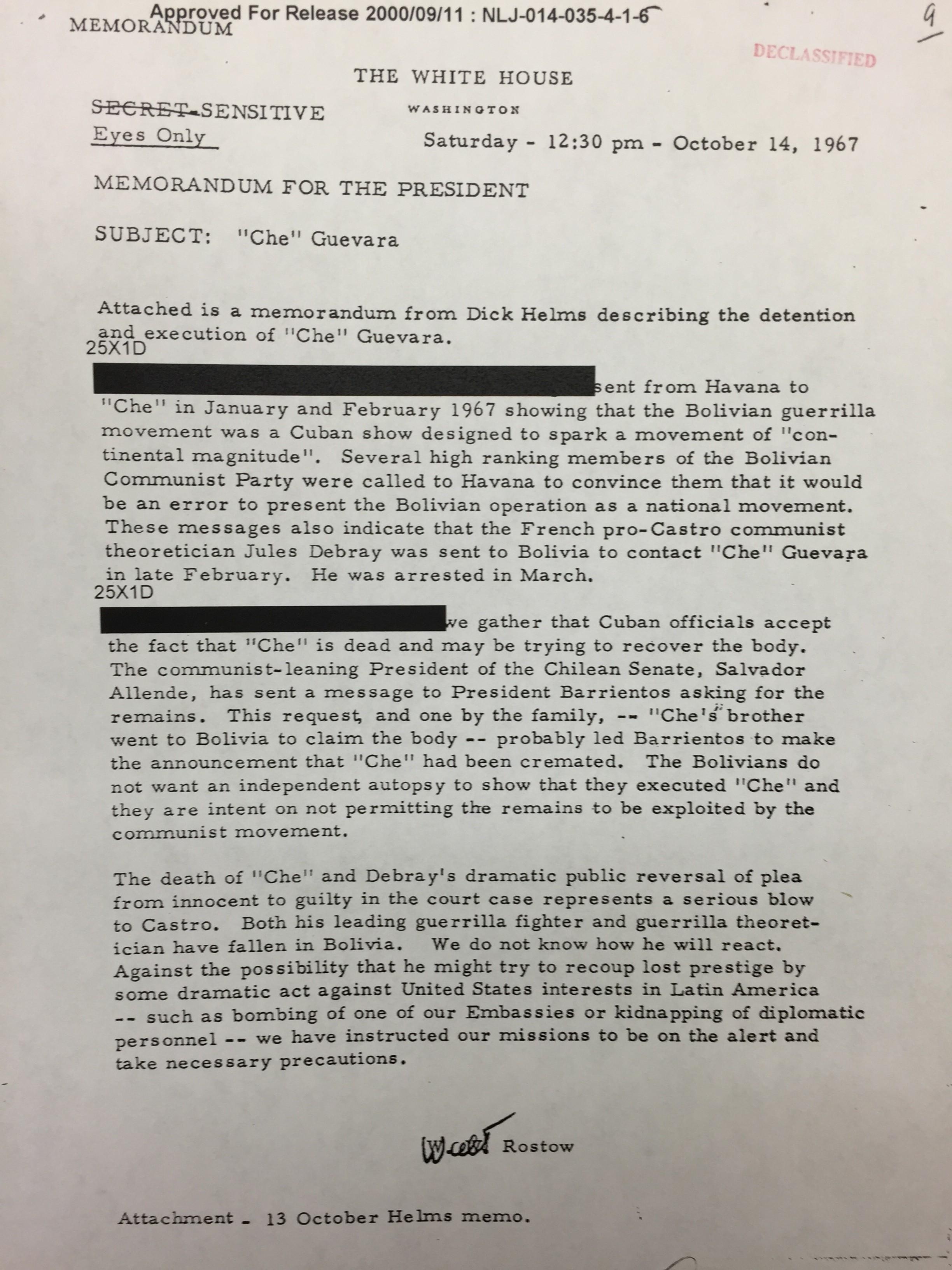 """Che"""" Guevara: los memos secretos de la CIA y la Casa Blanca sobre su ..."""