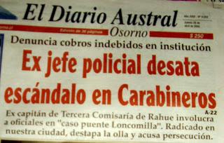 Edición de El Diario Austral dando cuenta de la denuncia de Víctor Vega