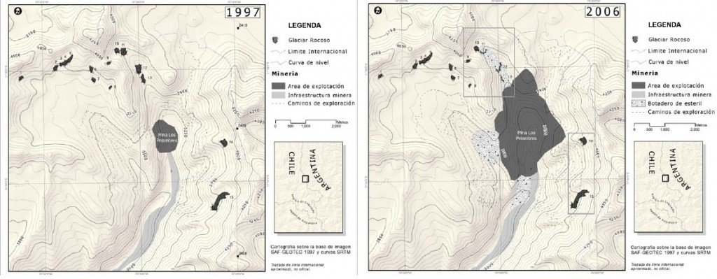 Glaciares rocosos afectados por Minera Los Pelambres entre los años 1997 y 2006 (Fuente: Informe Universidad de Waterloo)