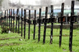 Crosses are seen in historical place known as Patio 29 inside Santiago''s General Cemetery