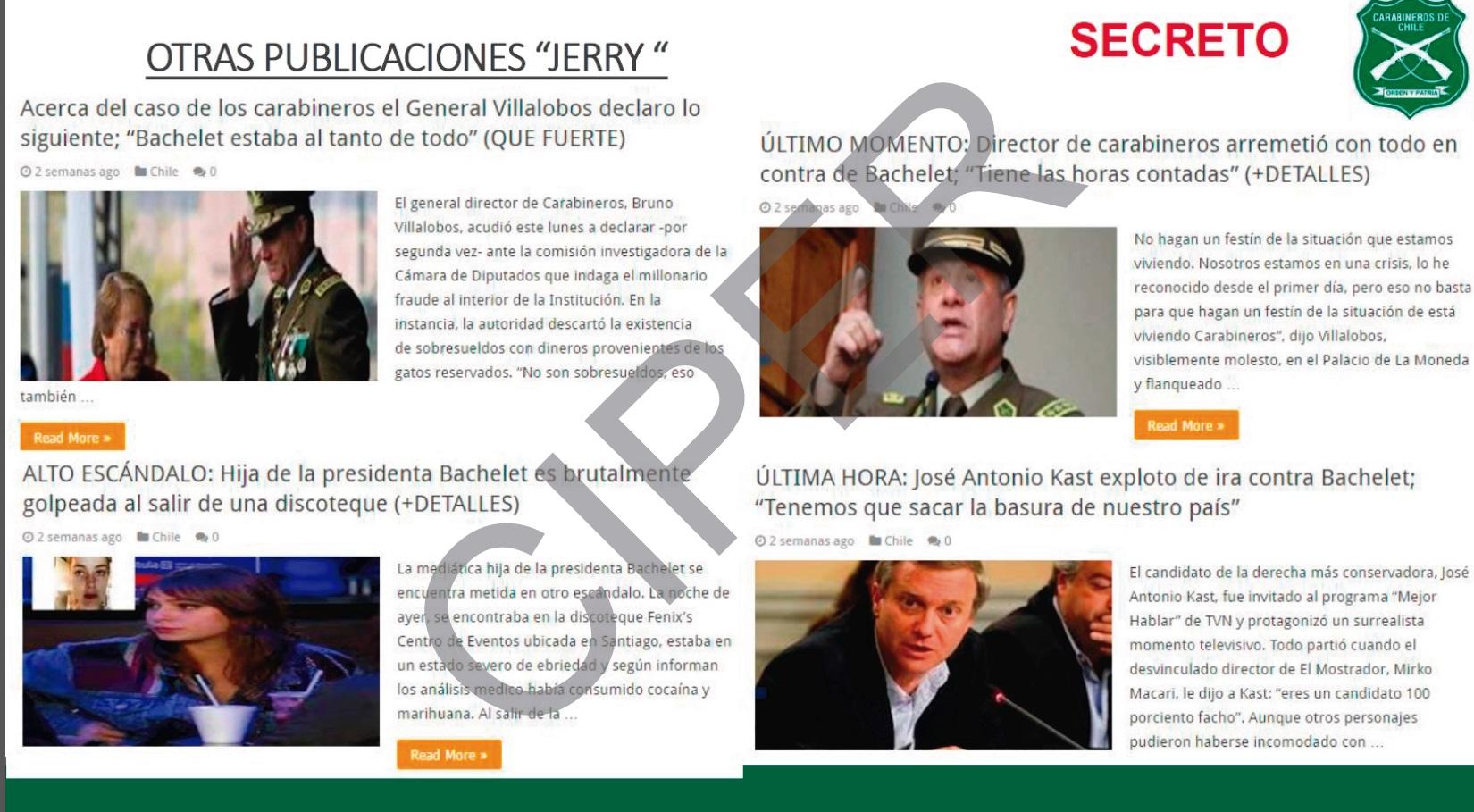 Pericias realizadas en la UIOE sobre noticias falsas publicadas en internet que mencionaban a Bruno Villalobos y a Michelle Bachelet