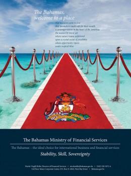 Folleto promocionando los servicios de la industria financiera en Bahamas.