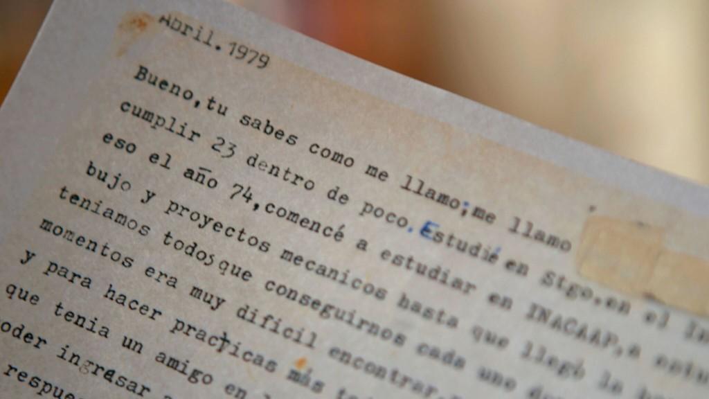 Inicio del testimonio de Jorge Lübbert, escrito en 1979