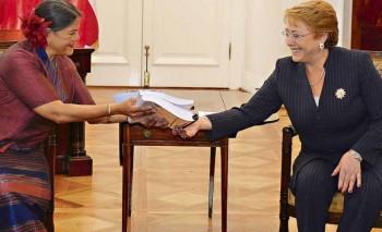 Directora de la FAO para América Latina y el Caribe, Eve Crowley, y ex Presidenta Michelle Bachelet