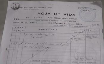 Hoja de vida de José Miguel Pavéz (click para agrandar)