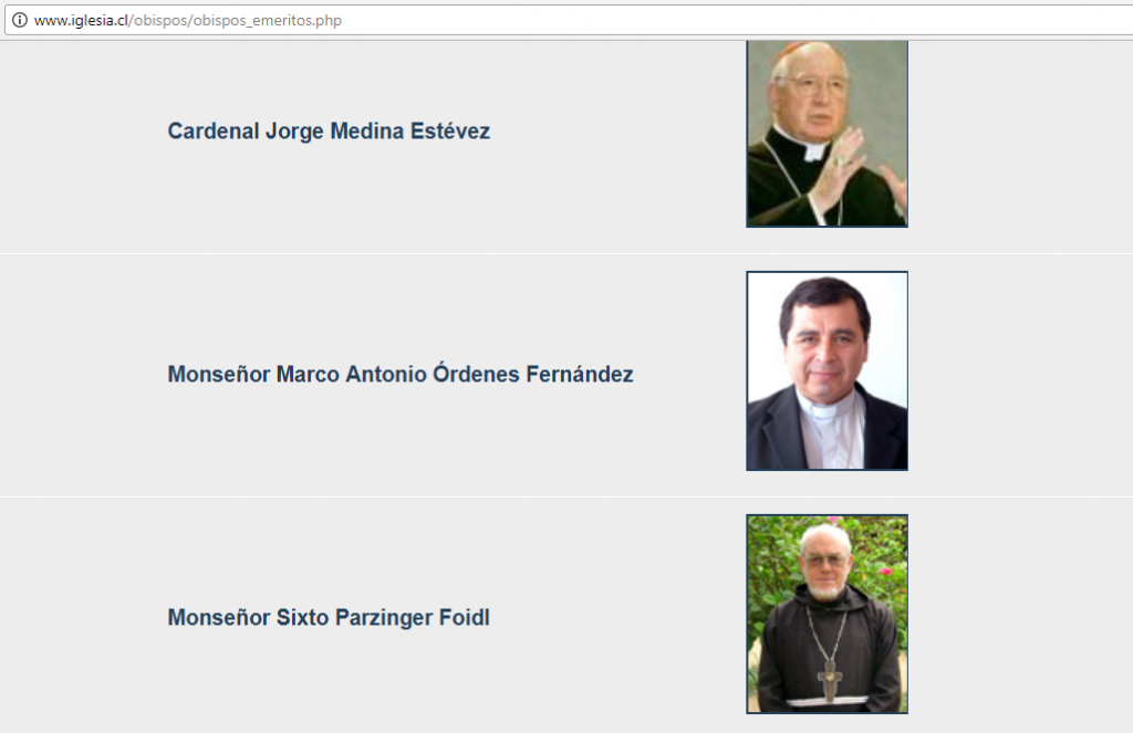 Nómina de obispos eméritos en la web de la Iglesia Católica chilena (imagen tomada el 10 de enero de 2018).