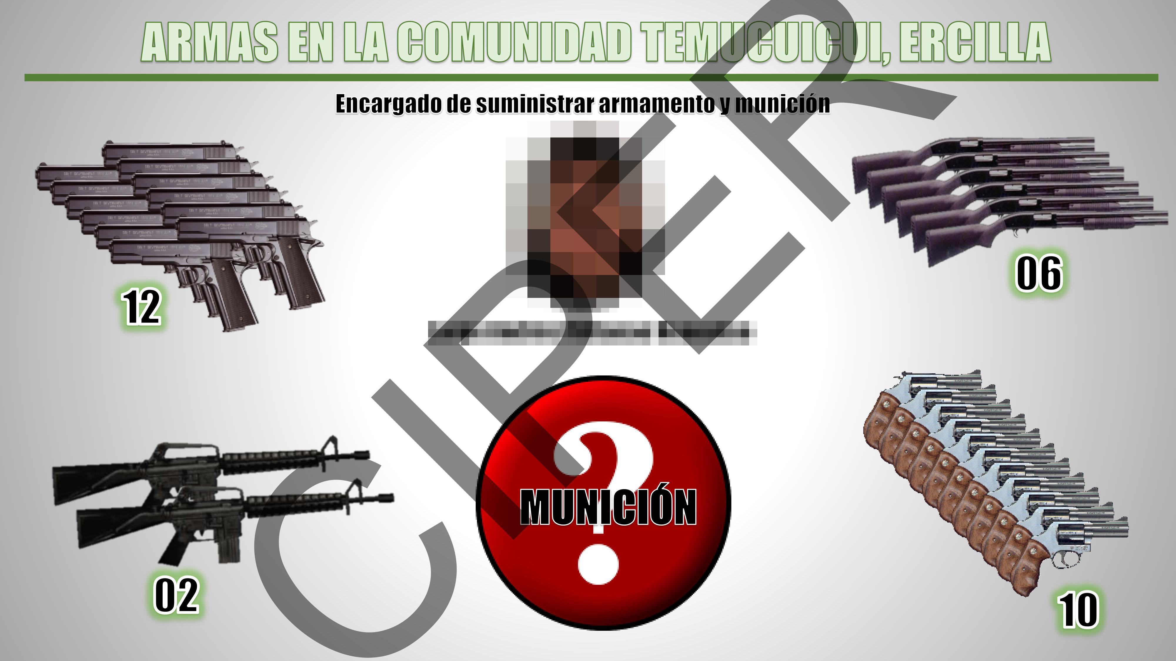 Armamento con el que contaría la Comunidad de Temucuicui, según la UIOE