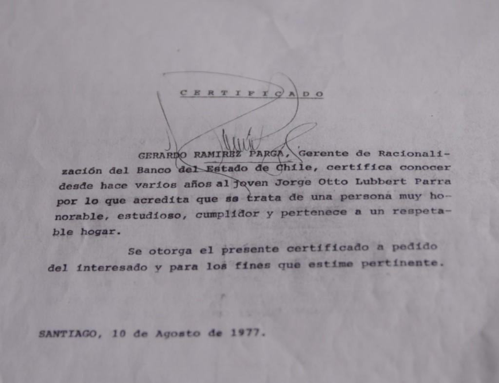 Carta de Gerardo Ramírez Parga donde recomienda a Jorge Lübbert para hacer su práctica en la CTC