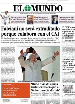 Portada de El Mundo (España) luego de que la justicia de ese país decidiera no extraditar a Falciani.