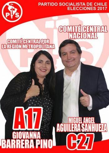 Afiche de campaña del alcalde Aguilera y de su cónyuge, Giovanna Barrera, para la interna 2017 del PS