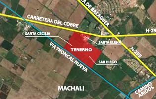 En rojo, los codiciados terrenos de Machalí.