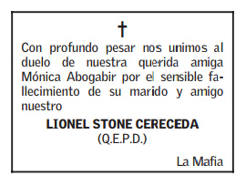 Obituario de El Mercurio 8-10-2014