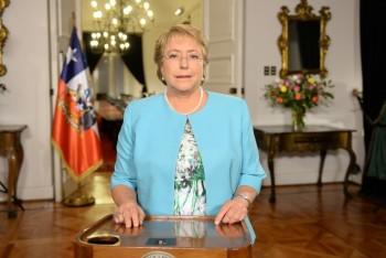 Michelle Bachelet durante la cadena nacional