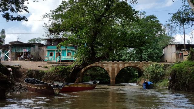 Embarcadero de Puerto Príncipe, en el río Caño Chiquito, que conecta con el río Punta Gorda, que será afectado por la ruta del Canal. Carlos Herrera/Confidencial.